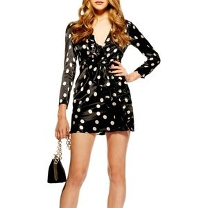 TOPSHOP PETITE Polka Dot Satin Frill Mini Dress
